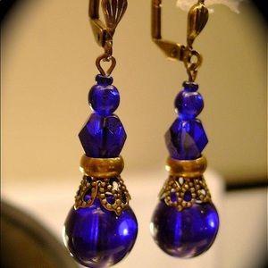 Antiqued Saloon Girl Earrings GARNET or COBALT ✨